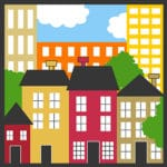 colorful logo with different colored buildings, sky and trees